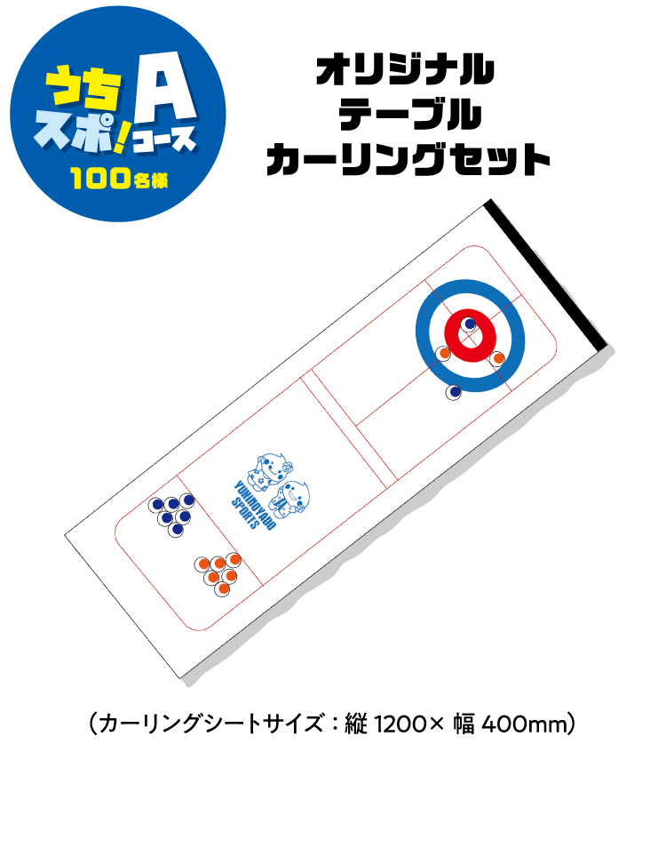 【Aコース】オリジナル テーブルカーリングセット(カーリングシートサイズ:縦1200×幅400mm)100名様